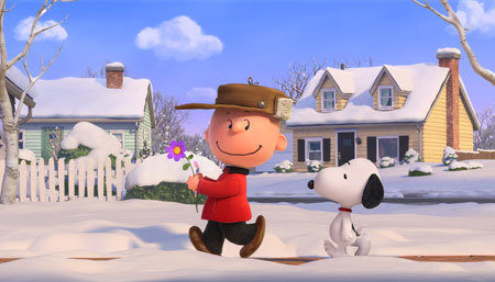 Charlie Bown and Snoopy on a winter adventure