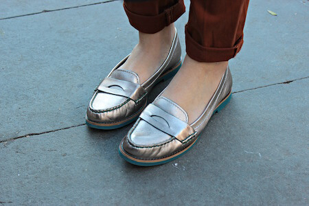 A metallic loafer adds a touch of cool to any outfit.