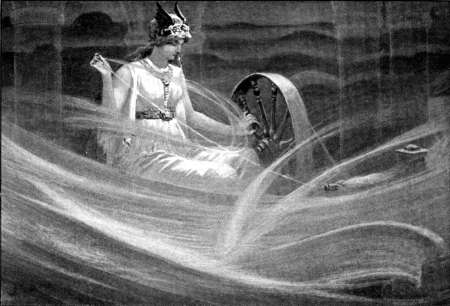 Frigg, the Norse Goddess of Love spinning the clouds