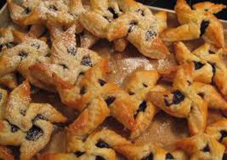 Joulutortut are prune preserve filled pinwheel cookies