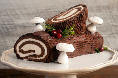 Buche de Noel is Holiday log cake made to look just like a log