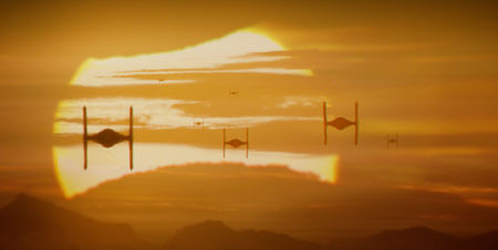 TIE fighters fly into the sunset