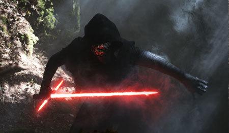 Kylo Ren pulls his three-pronged light saber