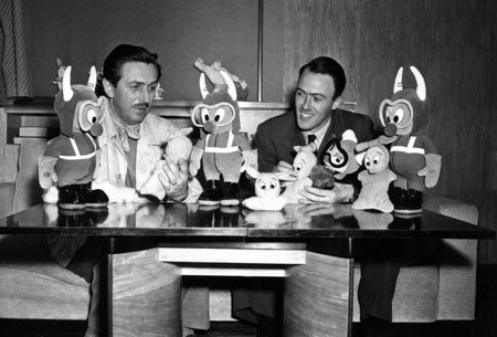 WALT DISNEY and ROALD DAHL, two of the world's greatest storytellers, in Hollywood in 1942