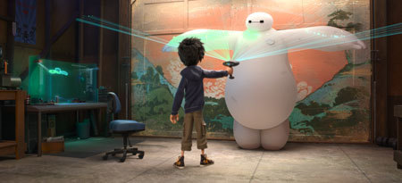 Hiro scans Baymax for his super suit