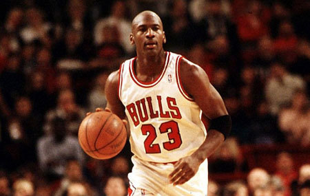 Michael playing for the Chicago Bulls