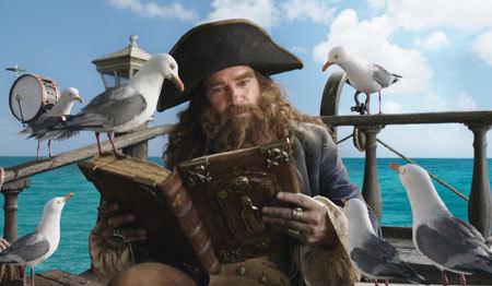 Burger Beard reads the Bikini Bottom tale to seagull pals