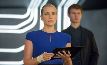 Caleb with Erudite leader Jeanine (Kate Winslet)