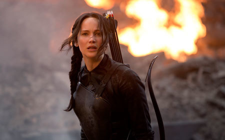 Katniss (Jennifer Lawrence) sees the hospital destroyed
