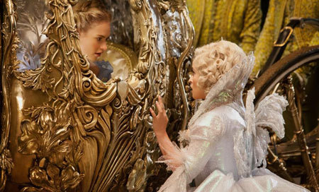 Fairy Godmother (Helena Bonham Carter) sends Ella to the ball