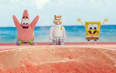 Patrick, Sandy and SpongeBob on land