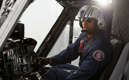 Ray (Dwayne Johnson) in his helicopter