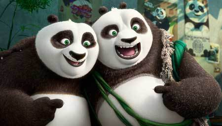 Po and his long-lost panda father Li