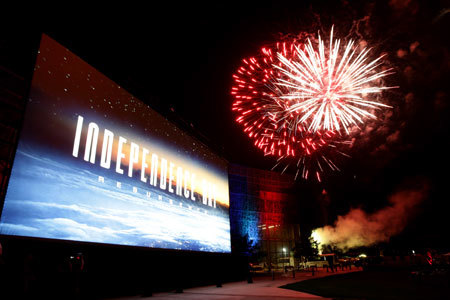 Giant party screen plus fireworks