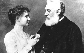 Alexander Graham Bell spent some time working with Helen when she was a child.