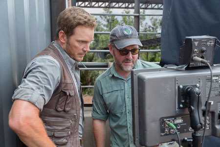 Chris watches a playback with Director Colin Trevorrow