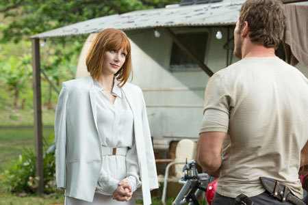 Owen makes some snarky remarks to Claire (Bryce Dallas Howard)