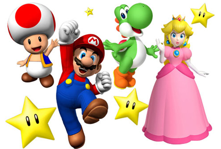 Toad, Mario, Yoshi and Peach