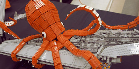 LEGO octopus destroys Empire battle cruiser