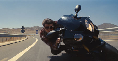 Hunt (Tom Cruise) in a high-speed motorcycle chase
