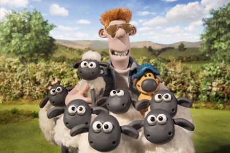 Earlier, happier times with the farmer, Bitzer and the flock