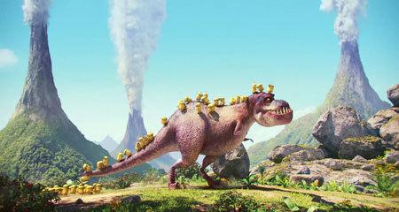 Minions ride their T-Rex boss