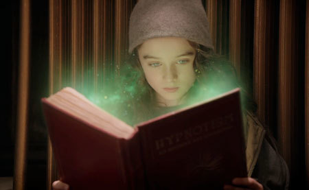 Molly reads the magical book