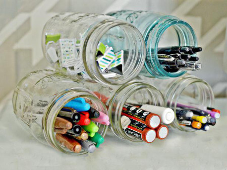 Cute and practical - mason jars as pen holders
