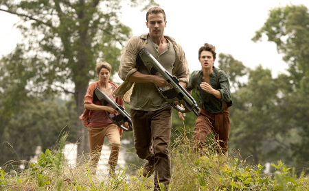 Tobias, Tris and Caleb run from the Amity camp