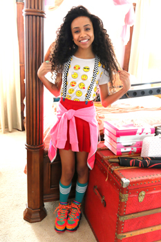Genneya Walton getting ready to shoot a scene of Project Mc2