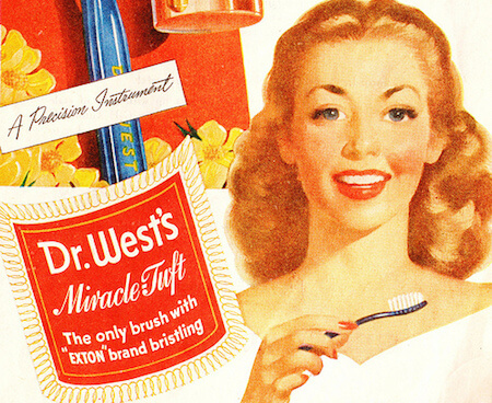 This ad from 1946 shows how popular mass produced toothbrushes had become by the mid-20th century.