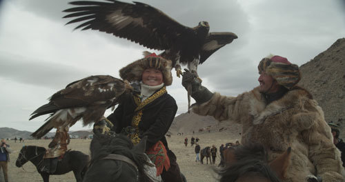 Aisholpan at a big eagle hunting competition