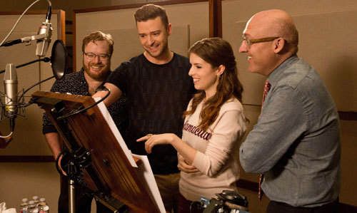 Justin and Anna in the recording studio with film's directors