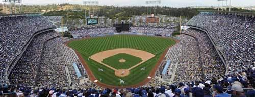 Pack crowd at Dodger Stadium