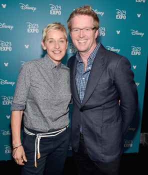 Ellen DeGeneres with director Andrew Stanton
