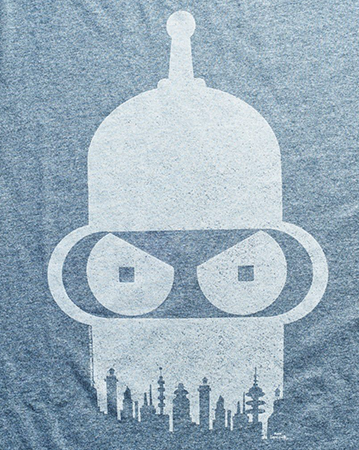 The design on the Futurama shirt.