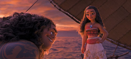 Moana and Maui become friends on their voyage