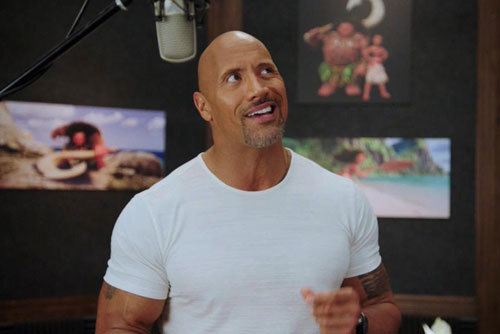 Dwayne Johnson recording the voice of Maui
