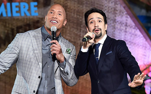 Dwayne and Lin-Manuel duet at the premiere