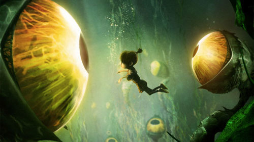 Kubo underwater facing the eye creatures