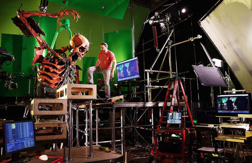 Animator working with 16-foot-tall Skeleton monster
