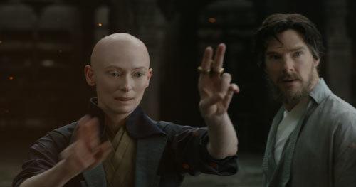 Ancient One (Tilda Swinton) demonstrates magic to Doctor Strange