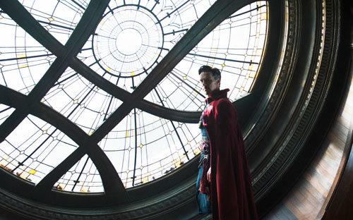 Doctor Strange in the window of the NYC Sanctum