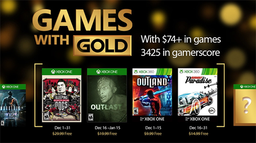 December 2016's Xbox One and Xbox 360 free Games with Gold!