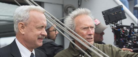 Tom Hanks as Sully with director Clint Eastwood