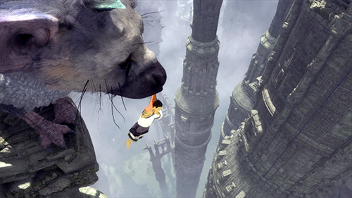 Trico catches the boy in his mouth.