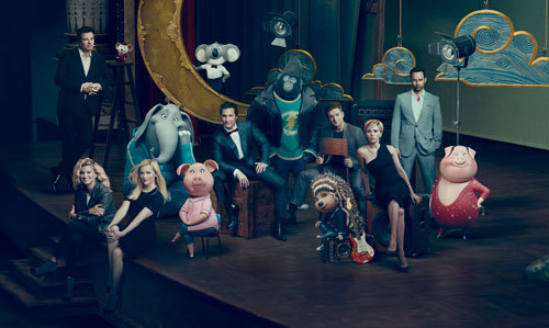 The voice cast with their characters