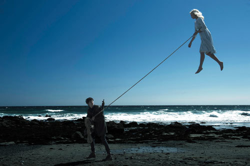 Jake flies the beautiful Emma like a kite