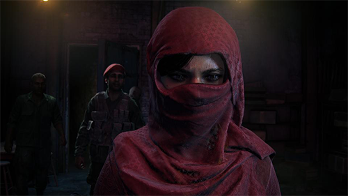 A disguised Chloe sneaks through a warzone.