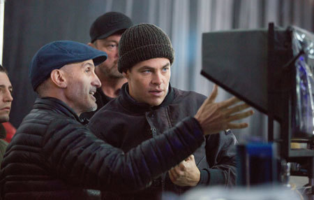 Chris on set with director Craig Gillespie